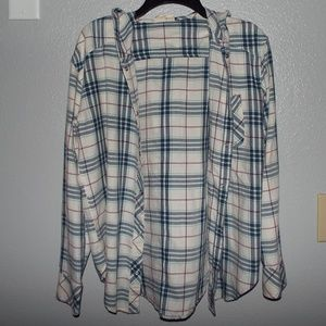 White and Blue Hooded Flannel